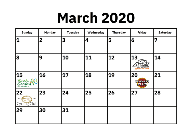 March calendar with graphics on opening days